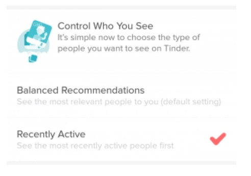 Tinder Control Who you See - Recently Active