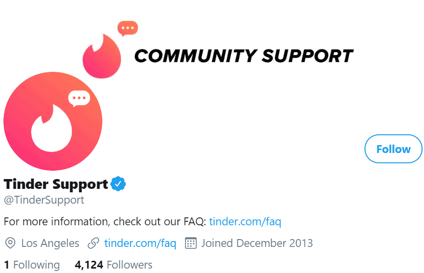 Tinder Twitter Support account