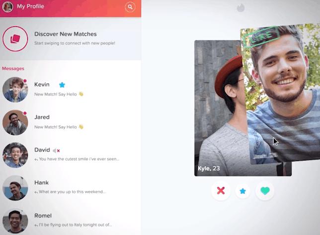 Tinder Online Desktop screen