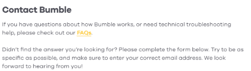 Bumble Contact Form