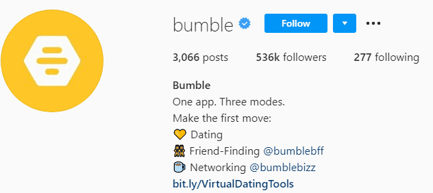 Bumble Instagram page