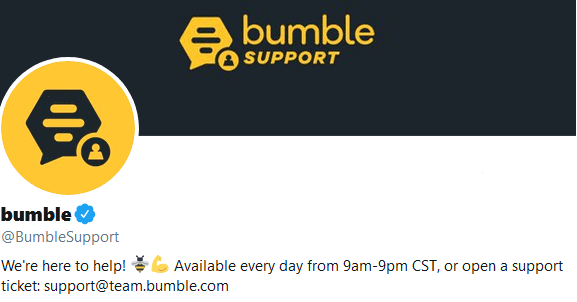 Bumble Support Twitter page