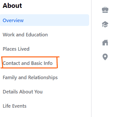 Facebook page Contact and Basic info