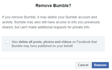 Remove Bumble From Facebook