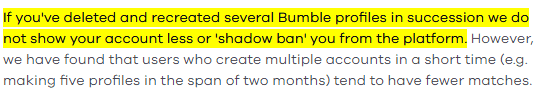 Bumble Shadowban Official Claim